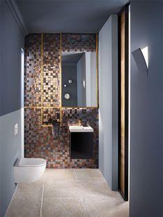 Advice and selection of WC design - Hdeco Gold Bathroom, Bathroom Fixtures, Bathroom Interior, Bad Inspiration, Bathroom Inspiration, Wc Design, House Design, Gold Bad, Small Toilet