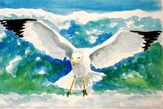 Original Watercolour Painting - 'Seagull' by Lavender George