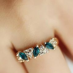 Dulce Diamante Esmeralda anillos de moda