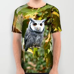 Owl and Leaves All Over Print Shirt