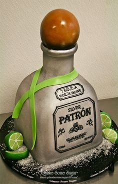 Patron Silver Tequila and limes!  www.gimmesomesugarlv.com  #patronbottle #customcakes #birthdaycakes