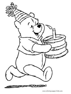 Winnie the Pooh with a birthday cake color page