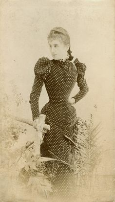 Unusual 1890s one-piece polkadot princess dress. Belle Epoque, late Victorian…