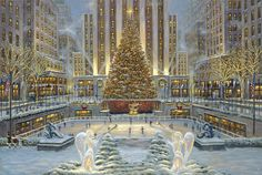 Holidays In New York - by Robert Finale - http://www.parsonsthomaskinkadegallery.com/holidays-york-robert-finale/