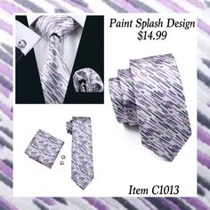 "This is a brand new silk tie set. Set includes coordinating tie, handkerchief and cuff links. Available in various patterns.     **Please Note** This item requires three (3) weeks to ship.  Please take the shipping time into consideration prior to placing your order.  Thank you ~ 📦    **International Shipping Is Available For This Item For $6.80. 🌎    Also available on our website at www.UyleesBoutique.com in our ""Men's Ties"" section.  