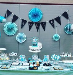 Babyshower niño mesa decorada idea for shanaya день рождения, декорации, ро Baby Shower Decorations For Boys, Baby Shower Centerpieces, Birthday Decorations, Baby Shower Table, Baby Shower Games, Baby Boy Shower, Baby Shower Para Nena, Decoracion Baby Shower Niña, Baby Dedication