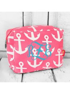 www.ewam.com Pink with White Anchors Cosmetic Case