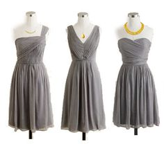 Bridesmaid dresses carrying purple flowers!  I even like it with the yellow accessories!