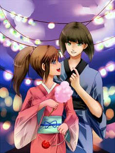 Chihiro and Haku having cotton candy at the festival
