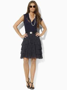 Flore Silk Georgette Skirt - Blue Label Skirts - RalphLauren.com $319