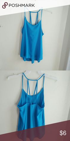 Lightweight flowy blue tank top Very lightweight blue tank top with a cool back design. Worn once. Perfect for summer. Forever 21 Tops Tank Tops