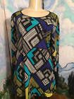 ☺❦ STYLE & CO. L BLUE/BLACK/TEAL MULTI GEOMETRIC ROUND NECK  LONG SLEEVE... http://ebay.to/2kcy7UF
