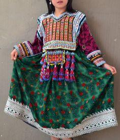 Afghan Kutchi ornate green flowered vintage gypsy dress with hand beaded bib bohemian tassels and full skirt