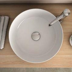 Vasque à poser ronde blanche 38.5 cm céramique, Pure Fine