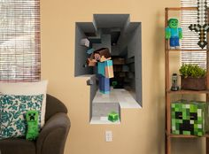 Cool Minecraft wall hangs on J!NX : Minecraft Wall Clings Mining 2-Pack