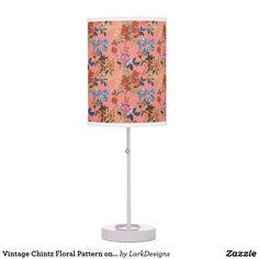 Vintage Chintz Floral Pattern on Coral Background Desk Lamp