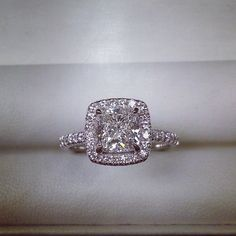 Dream ring: cushion halo engagement ring