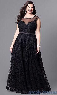 Vestido longo preto plus size com renda