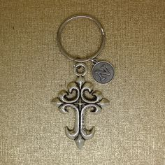 CROSS keychain, initial keychain, silver cross charm keyring, Christmas gift, best friend gift. by AgouraDesign on Etsy