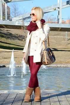 Look: Burgundy trench Ugg - omelocotton - Trendtation