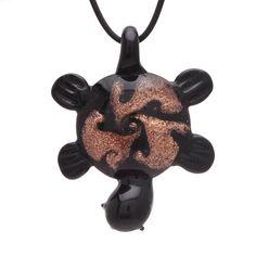 "Bleek2sheek Murano-inspired Glass Black ""Tribal Turtle"" Pendant Necklace"