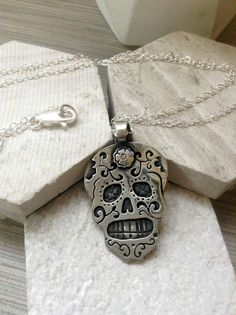 Sugar Skull Necklace in Sterling Silver or Copper by sprout1world