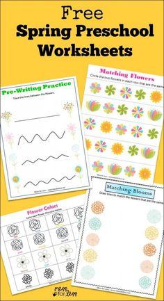 Free Spring Preschool Worksheets - work on basic skills with a Spring theme! Printable Preschool Worksheets, Free Kindergarten Worksheets, Free Preschool, Worksheets For Kids, Free Printables, Tracing Worksheets, Preschool Kindergarten, Coloring Worksheets, Printable Templates