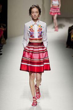Milan Fashion Week Alberta Ferretti Spring 2014 vibrant Embroidered Blouse and Striped Skirt -  - Harper's BAZAAR