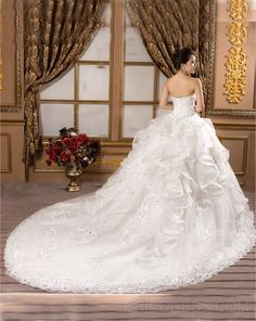 Gorgeous Ball Gown Sweetheart Appliques Beading Chapel Attractive Wedding Dress 2