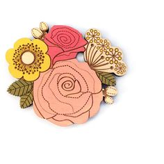 Rose posy brooch hand painted laser cut brooch ($19) ❤ liked on Polyvore featuring jewelry and brooches