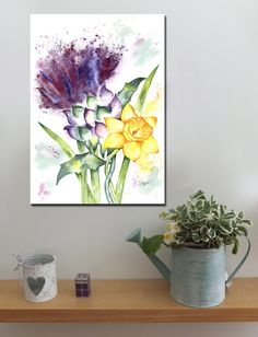 Scottish Thistle and Daffodil http://www.splashyartystory.com/shop/art-prints/thistle-and-daffodil-art-print-from-painting/