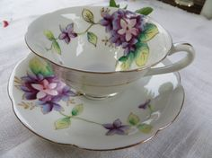 Gorgeous Hand Painted Tea Cup and Saucer by Fern Made in Japan
