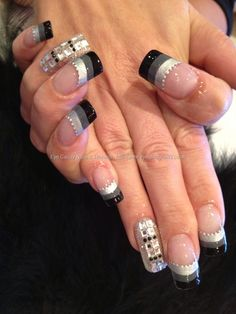 Grey striped tips with Swarovski crystal nail art