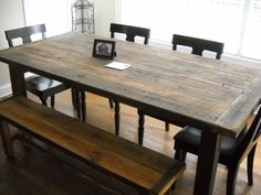 7' Harvest/Farm Table and bench built from reclaimed barn wood