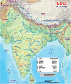 Find here the list of top 10 rivers in India by length in kilometers along with a map. Also, know from where they originate and end. Geography Worksheets, Geography Lessons, Physical Geography, India World Map, India Map, Himalayas Map, Indian River Map, Ports In India, World Geography Map