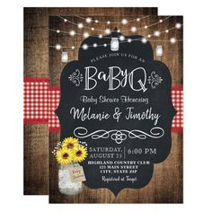 BabyQ Baby BBQ Country Baby Shower Invitations - tap/click to personalize and buy  #invitations #rustic #mason #jar #sunflower Couples Wedding Shower Invitations, Custom Baby Shower Invitations, Country Wedding Invitations, Engagement Party Invitations, Beautiful Wedding Invitations, Rustic Invitations, Invites, Zazzle Invitations, Invitation Wording