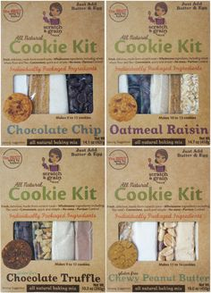 Scratch & Grain Baking Co's All Natural Cookie Kits make homemade baking easy! The kits offer pre-measured, individually packaged and labeled ingredients to replicate the baking from scratch experience but without the mess, hassle, cost, and inconvenience. They include high quality, mostly organic ingredients, including whole wheat flour or gluten-free flour as well as heart healthy flax. www.scratchandgrain.com