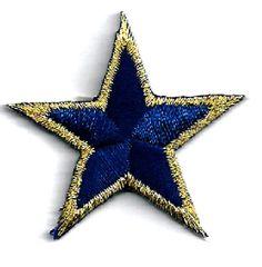 ONE-DOZEN-12-Stars-Navy-Blue-Gold-Metallic-7-8-2-2cm-Iron-On-Patches