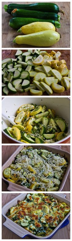 Easy Cheesy Zucchini Bake - 2 medium zucchini - 2 yellow squash - fresh basil - green onion - dried thyme - low fat white cheese - like Mozzarella or Provolone