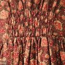 "Augusta Auctions Both w/ long sleeves, CF neck to hem buttons, jewel necklines, CB gathers: 1 navy & maroon wool & silk woven plaid, 2 front panels w/o waist seam, CB waist seam w/ gathered skirt, 2 interior cased strings to adjust waist, small brown & tan leaf print silkliining, B 40"", L 53"", (5 of 16 missing Dorset buttons) excellent; challis print in burgundy & green w/ tiny rose clusters, loose top, gathered waist, berry & leaf print cotton lining, tagua nut buttons, (tears at button…"