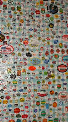 Over the course of 20 years, my husband put vegetable and fruit stickers on the back of one of the kitchen cabinets. After his death, I decoupaged the door. In all, there are over three hundred stickers so if you've ever wondered how long it would take to fill up the space on a large cabinet door....