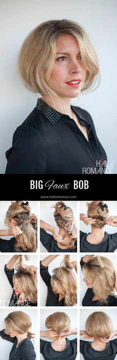 Try out short hair before the big chop! Big faux bob hairstyle tutorial