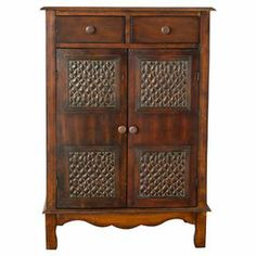 Birch wood chest with two doors and two upper drawers.  Product: ChestConstruction Material: Birch woodColor: Dark brown Features: Two doors and two drawers Dimensions: 36.8 H x 26 W x 15.5 D