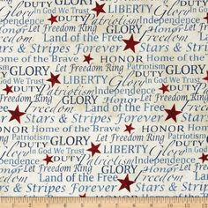 Stonehenge Land of the Free Words & Writing Navy/Red/Beige from @fabricdotcom  Designed by Linda Ludovico and Deborah Edwards for Northcott Fabrics, this cotton print fabric is perfect for quilting, apparel and home decor accents. Colors include black, shades of red, shades of blue, and shades of cream.