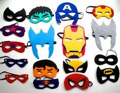 Easter Basket  Filler -10 Mixed Party Favors Super Hero Felt Mask set/Thor/Iron man/Capitan America/Spider man/Batman/Cat woman/Super man