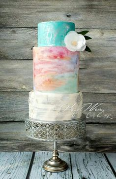 Love the watercolour effect and miss matched tiers.