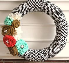 fabric wrapped chevron wreath by YellowAttic on Etsy, $32.00