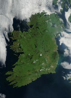 Ireland by NASA Goddard Photo and Video, via Flickr - On August 7, 2003, the NASA Aqua MODIS instrument acquired this image of Ireland on the first day this summer that most of the island hasn´t been completely obscured by cloud cover. Called the Emerald Isle for a good reason, Ireland is draped in vibrant shades of green amidst the blue Atlantic Ocean and Celtic (south) and Irish (east) Seas. Faint ribbons of blue-green phytoplankton drift in the waters of the Celtic Sea, just south of…