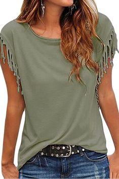 Cutiefox Women's Summer Tassel Short Sleeve T Shirt Tops Blouse - Damen Mode 2019 Diy Cut Shirts, T Shirt Diy, T Shirt Refashion, Diy Upcycled Shirts, Cut Tshirt Ideas, Cut Shirt Designs, Clothes Refashion, T Shirt Hacks, Diy Vetement