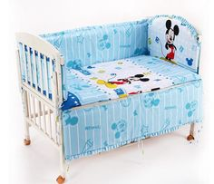 42.20$  Watch here - http://ali0kq.worldwells.pw/go.php?t=32304813162 - Promotion! 6PCS Mickey Mouse washable baby bedding set bebe jogo de cama cot crib bedding set (bumper+sheet+pillow cover)